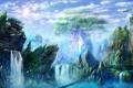 Картинка небо, мост, скалы, рисунок, водопад, дома, арт