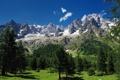 Картинка Mont Blanc, Монблан, Alps, деревья, горы, Альпы