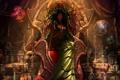Картинка девушка, череп, свечи, платье, тату, баночки, ведьма