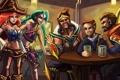Картинка арт, стаканы, мужчины, lol, league of legends, miss fortune, jinx