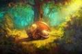 Картинка лес, деревья, дракон, крылья, хвост, кусты, уставший