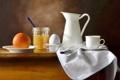 Картинка стол, фон, яйцо, апельсин, нож, чашка, посуда