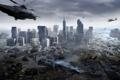 Картинка вода, город, дым, вертолеты, катастрофа, разрушение, потоп