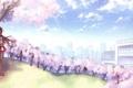 Картинка небо, девушка, облака, деревья, город, улыбка, дома