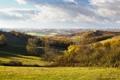 Картинка осень, деревья, дом, холмы, поля