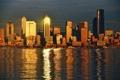 Картинка Сиэтл, здания, огни, Seattle, город, залив, дома