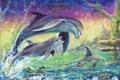 Картинка море, волны, дельфины, живопись, холст