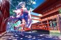 Картинка небо, девушка, облака, деревья, мост, арт, кимоно