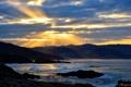 Картинка море, солнце, лучи, тучи, вечер, Leo Margareto, зали. волны