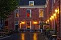 Картинка фото, Дома, Ночь, Город, Фонари, Нидерланды, Woerden