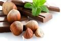 Картинка мята, лесные, плитка, шоколад, орехи, фундук, дольки