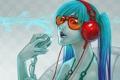 Картинка Девушка, наушники, очки, микрофон