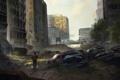 Картинка дорога, машины, город, улица, апокалипсис