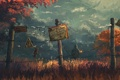 Картинка лес, трава, табличка, человек, ограда, капюшон, art