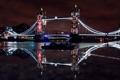 Картинка отражения, ночь, мост, город, Англия, Лондон, подсветка