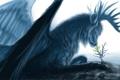 Картинка листья, поверхность, росток, крылья, существо, арт, рога