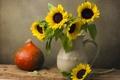 Картинка цветы, подсолнух, тыква, ваза