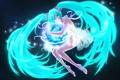 Картинка небо, девушка, звезды, ленты, планета, арт, Hatsune Miku