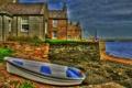 Картинка море, небо, тучи, лодка, дома, hdr, поселок