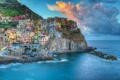 Картинка Лигурийское море, Cinque Terre, Чинкве-Терре, скалы, здания, облака, Манарола