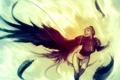 Картинка девушка, крылья, перья, наушники, декольте, короткие волосы