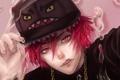 Картинка кепка, Парень, цепочка, красные глаза, красные волосы