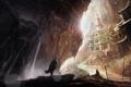 Картинка замок, скалы, водопад, фигура, арт, дорожка, храм