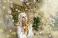 Картинка девушка, фон, настроение
