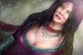 Картинка девушка, снег, платье, арт, декольте, украшение, колье