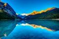 Картинка небо, закат, горы, озеро, Канада, Альберта, Lake Louise