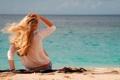 Картинка море, девушка, пейзаж, волосы, спина, блондинка, синее