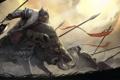 Картинка оружие, армия, властелин колец, гномы, клыки, зверь, битва