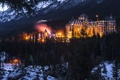 Картинка лес, Канада, Banff National Park, Canada, вечер, огни, отель