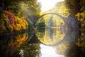 Картинка мост, природа, парк, отражение, река