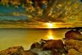 Картинка море, облака, закат, камни, берег